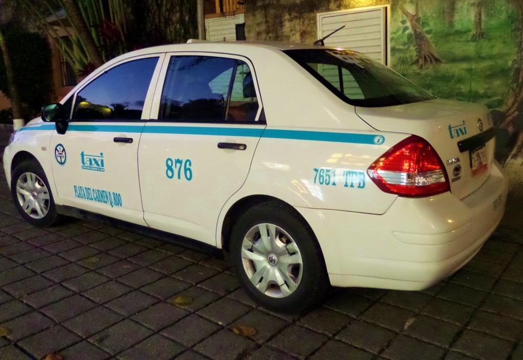 Taxi cab in Playa Del Carmen Nissan Tida