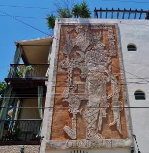 Mayan mural on building in Playa Del Carmen