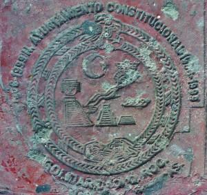 Concrete stamp in Playa Del Carmen
