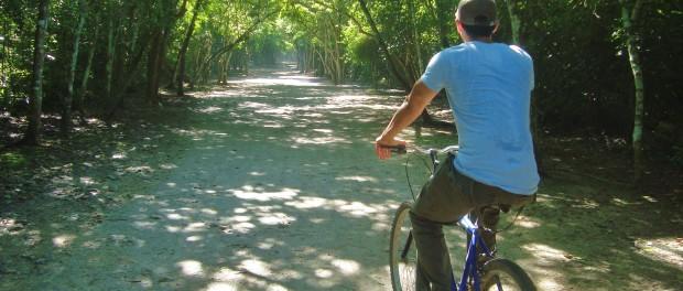 Biking in coba ruins Mexico