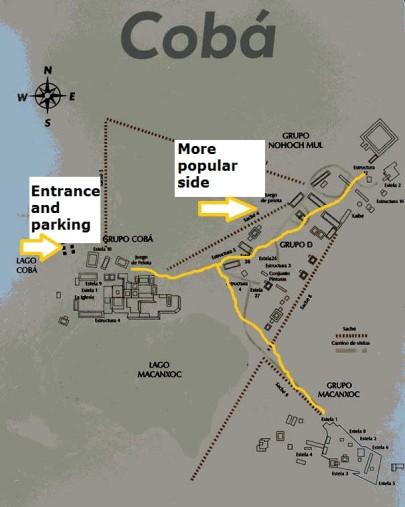 Coba Ruins Map