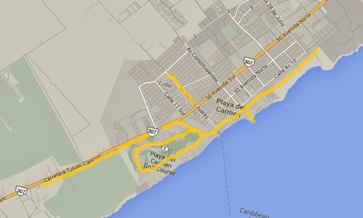 Running, Playa del Carmen map