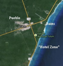 Part Of Tulum Nicknamed The Hotel Zone Along Beach Both Are Very Diffe But Integrated Into What Makes Today Map