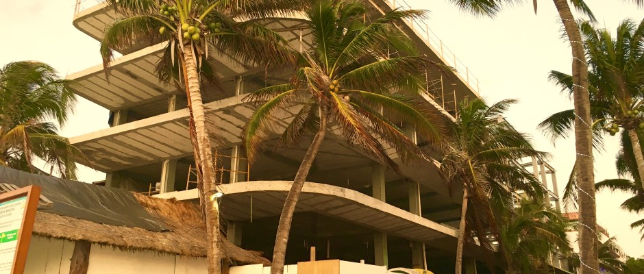 New hotel being built on 8th Street and the beach in Playa Del Carmen.
