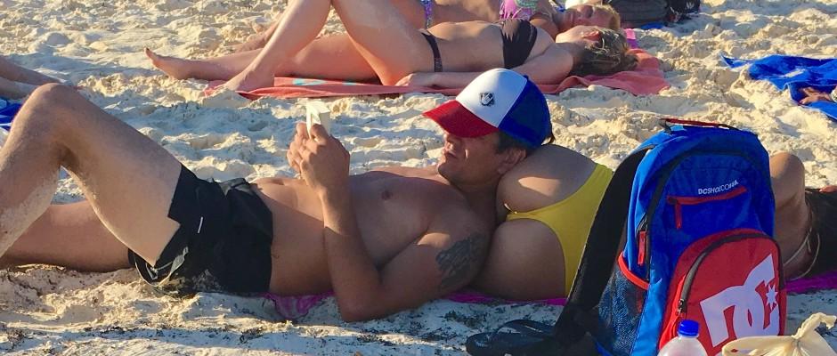 Guy on beach in Playa Del Carmen
