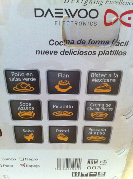Now this is a real Mexican Microwave, it even has a Pollo in Salsa Verde button!