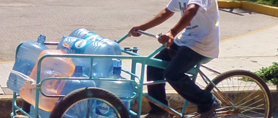 Playa del Carmen tricycle, water delivery