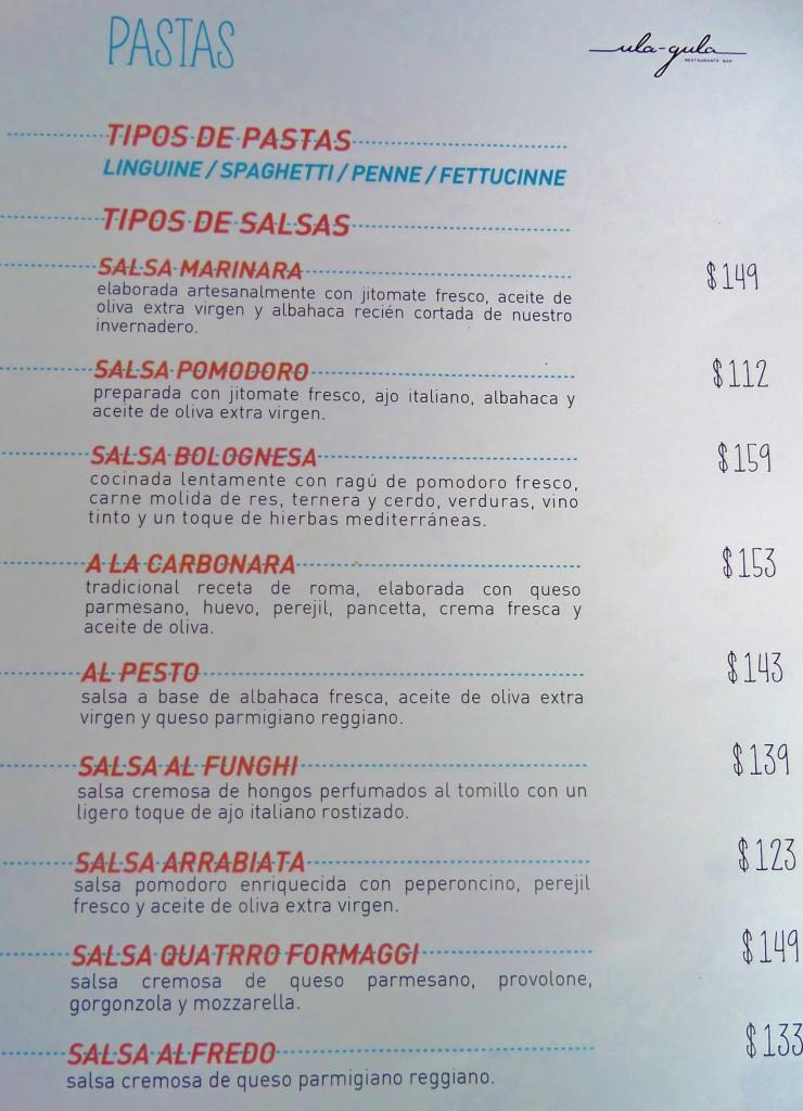 Ula Gula Restaurant Menu Playa Del Carmen, 5th Avenue, pizza, pasta, menu