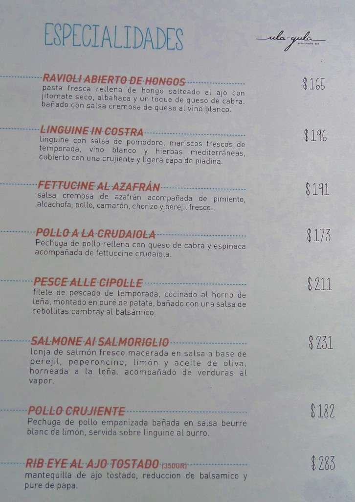Ula Gula Restaurant Menu Playa Del Carmen, 5th Avenue, pizza, pasta, menu