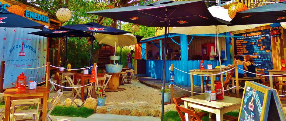 Tacontenedor, tacos, seafood, Playa del carmen Mexico