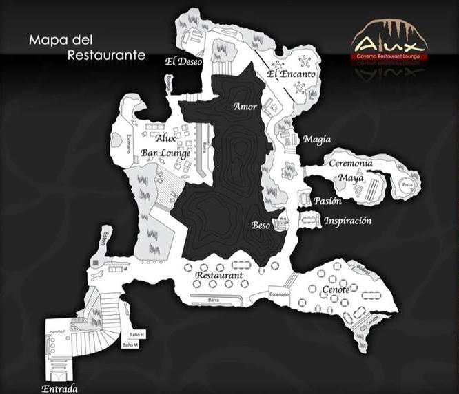 Alux restaurant map cave cenote