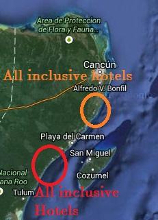 Riviera Maya hotel map