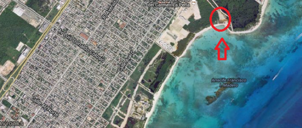 Beach with Cenote Playa Del Carmen Map