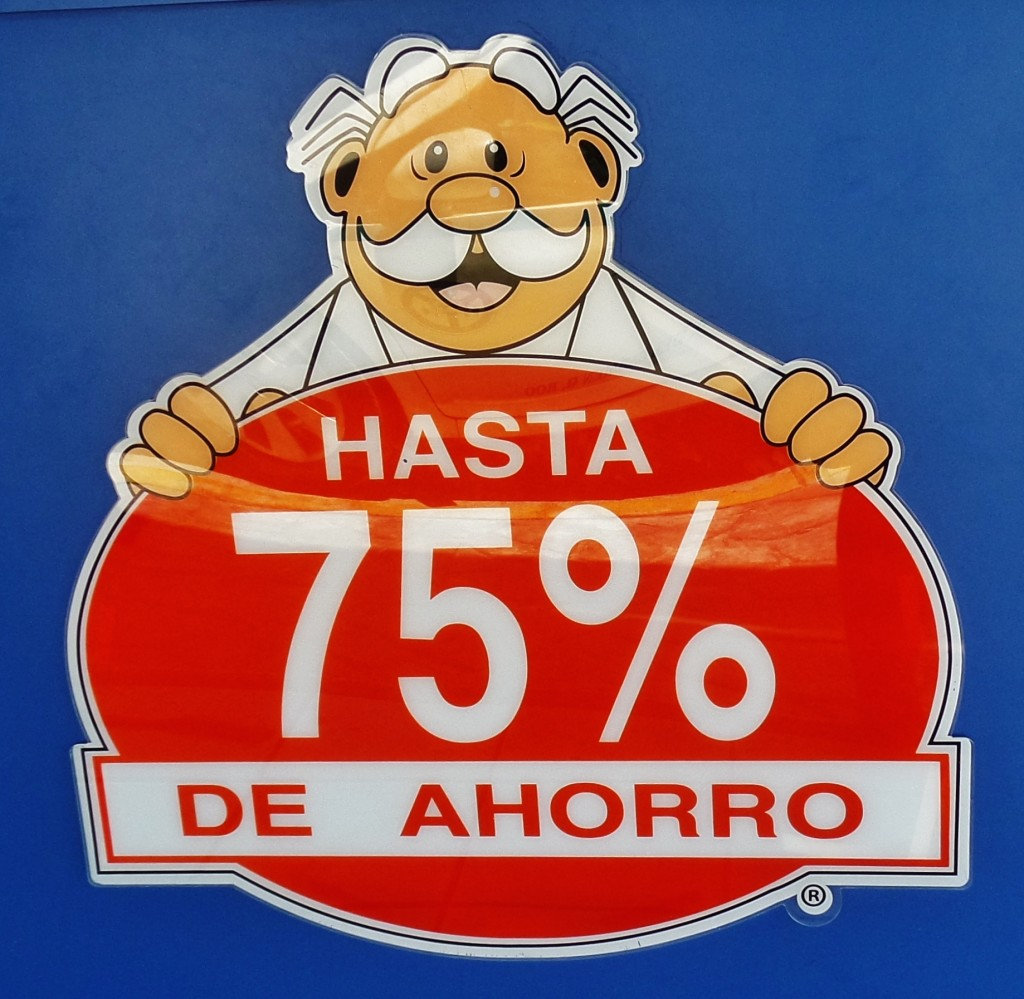 Cartoon advertisements in Playa Del Carmen