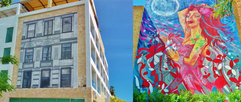 Murals in Playa Del Carmen at Palm Hotel and Soho Hotel
