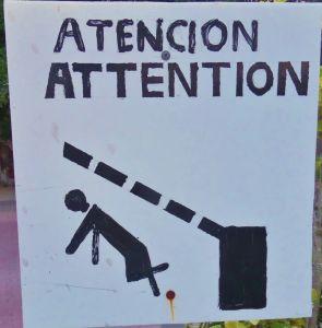 Funny street sign in Playa Del Carmen