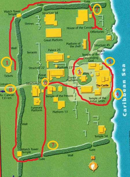 Tulum ruins map