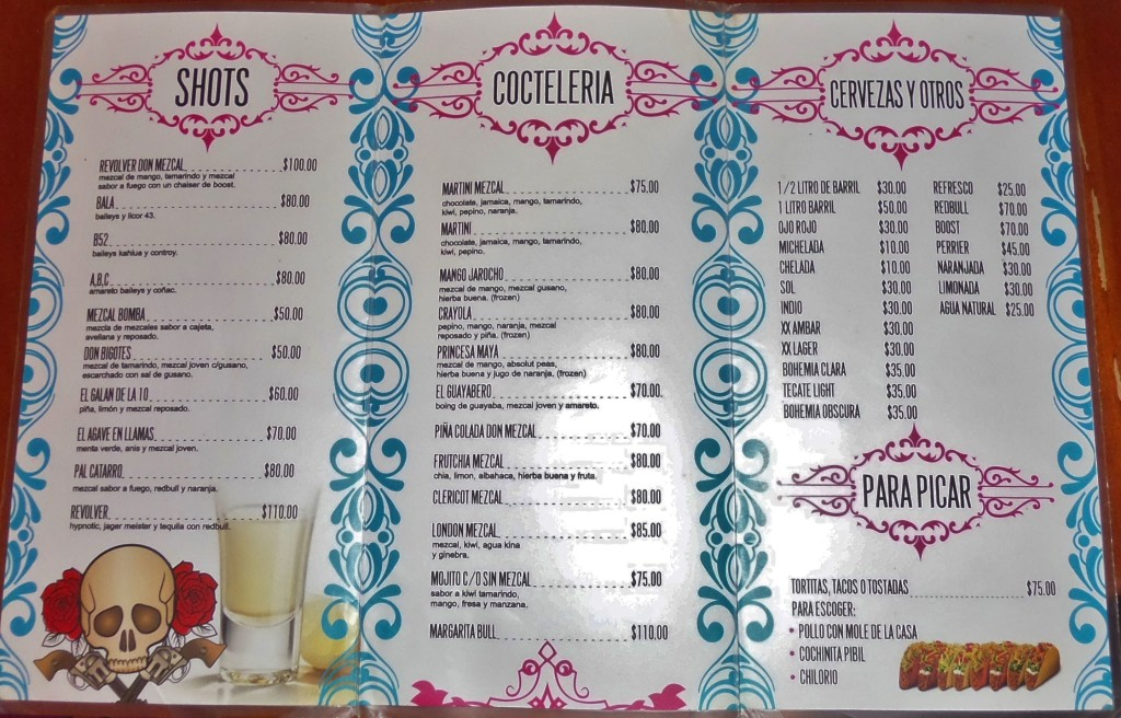 Don Mezcal Bar in Playa Del Carmen menu