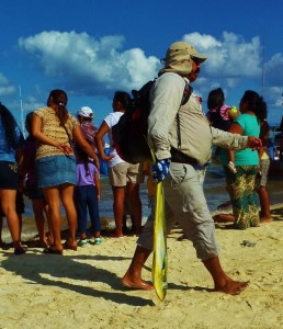 Fisherman and fish in Playa Del Carmen
