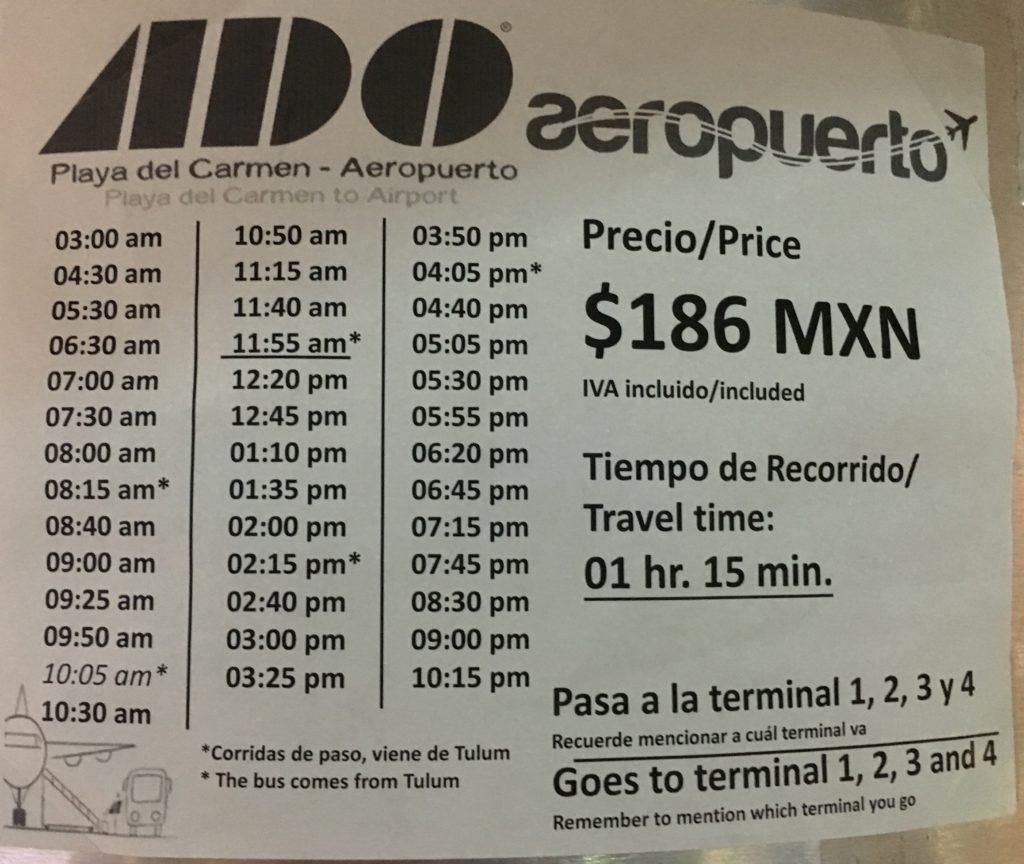 ADO bus schedule Playa Del Carmen to Cancun Airport