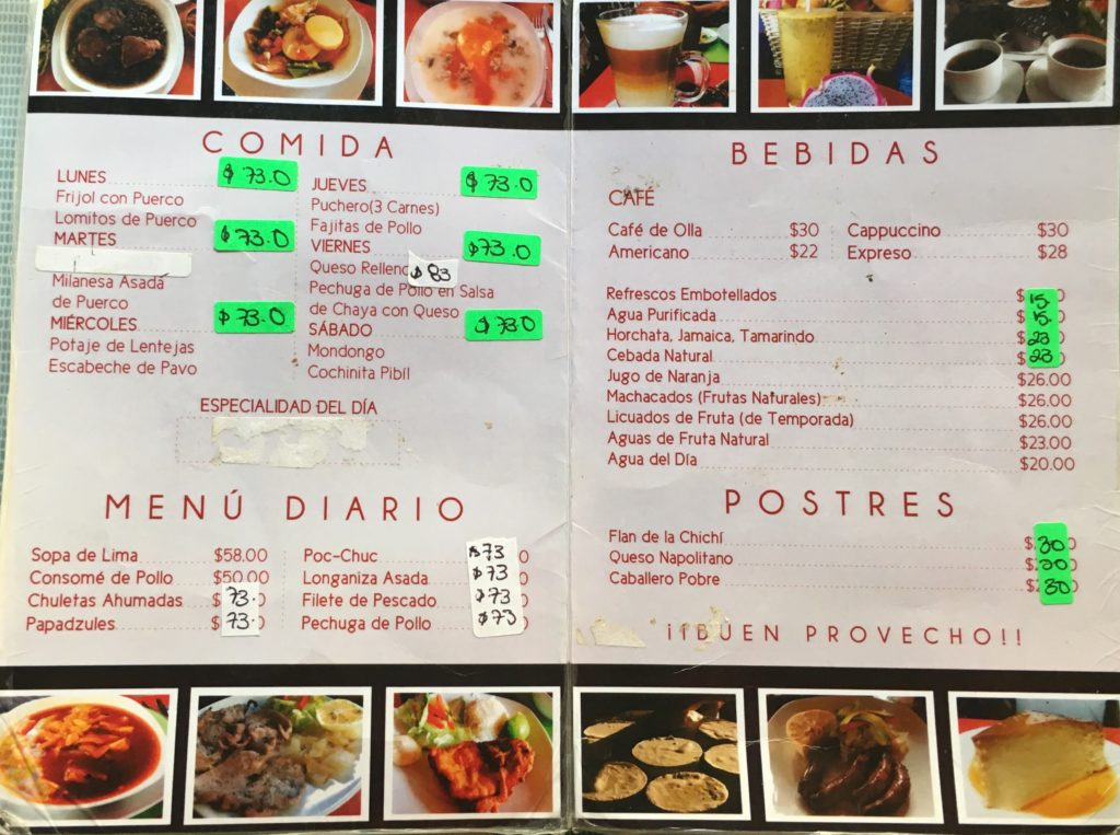 Menu at Rincon Yucateco Restaurant