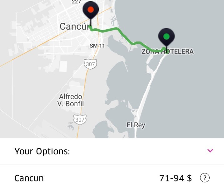 Uber Cancun Mexico