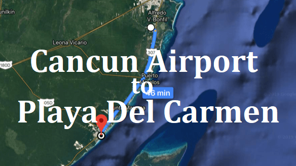 How to get from the Cancun Airport to Playa Del Carmen Cancun Bus Map on