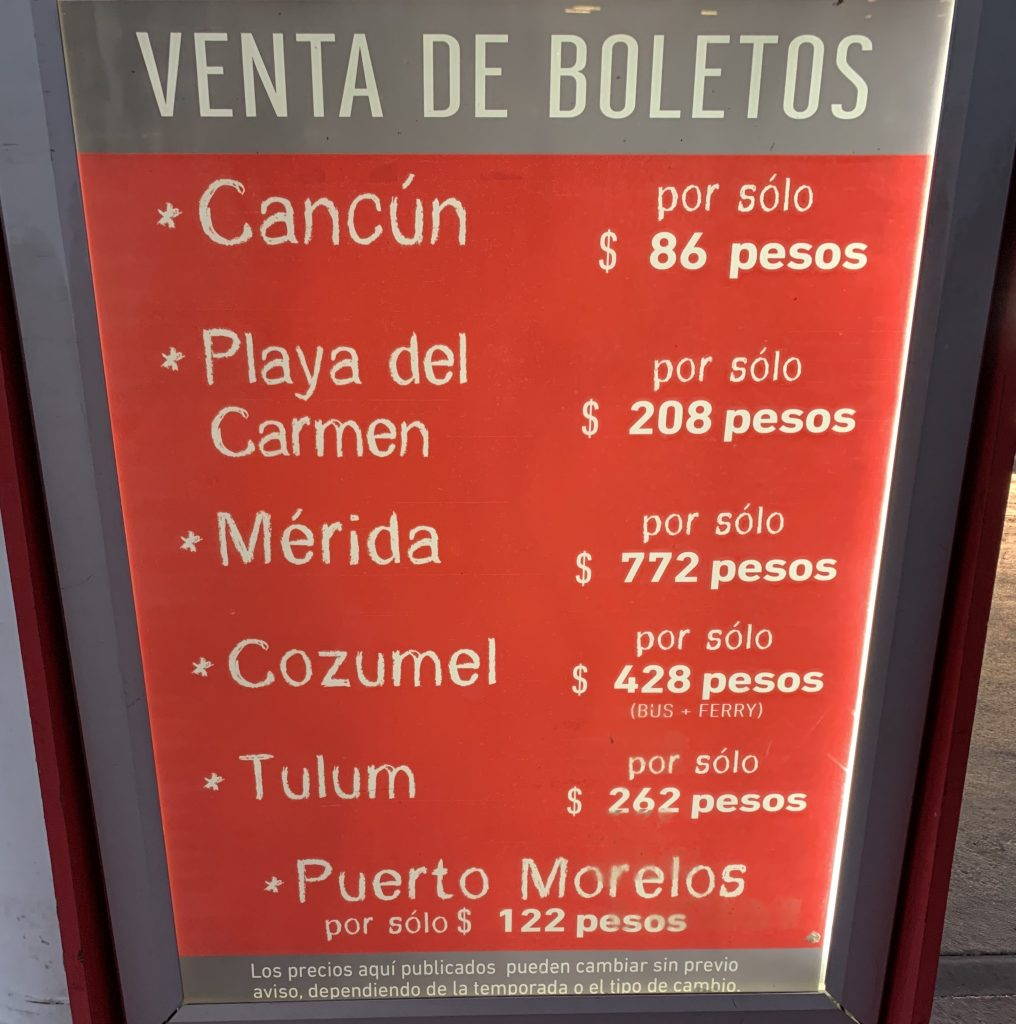 Canucin Airport to Tulum bus tickets