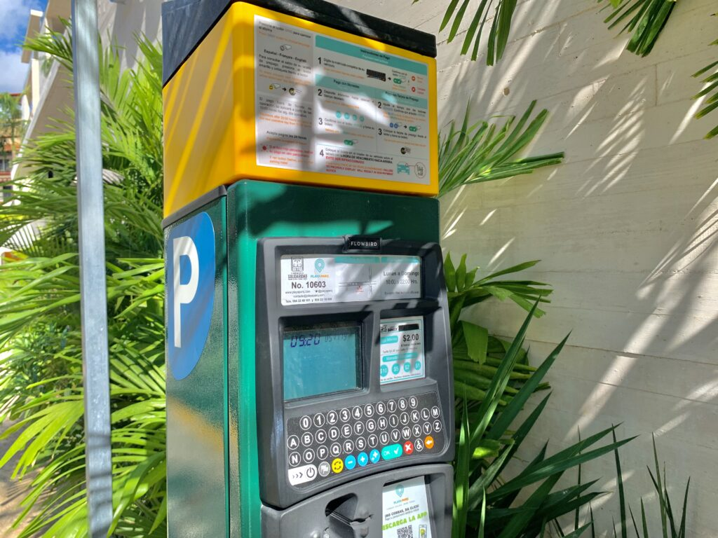 Parking meters in Playa Del Carmen